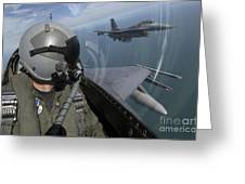 F-16 Fighting Falcons Flying Greeting Card