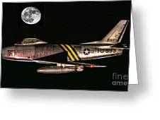 F-86 And The Moon Greeting Card