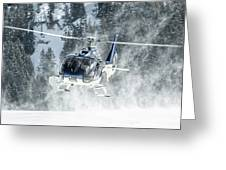 F-hana Eurocopter Ec-130 Landing Helicopter At Courchevel Greeting Card