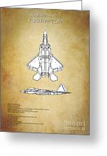 F22 Raptor Blueprint Greeting Card