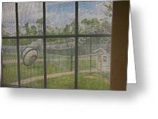 Prison Yard With Razor Wire, Guard House And Satellite Dish Greeting Card