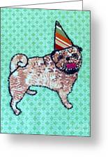 Fabric Pug Greeting Card