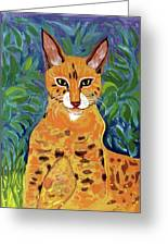 fabulous cat portrait in the style of Van Gogh's Greeting Card