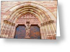 Facade Church Of Obernai,alsace France 073540 Greeting Card