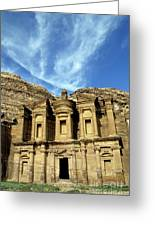 Facade Of Ad Deir An Ancient Rock-cut Monastery In Petra Greeting Card