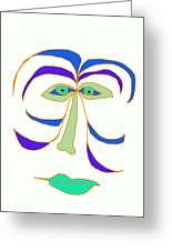 Face 2 On White Greeting Card