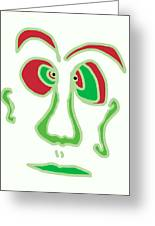 Face 3 On White Greeting Card