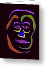 Face 5 On Black Greeting Card