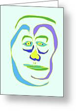 Face 5 On Light Blue Greeting Card
