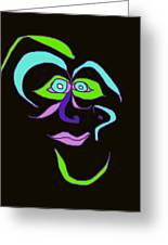 Face 6 On Black Greeting Card