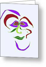 Face 6 On Light Blue Greeting Card