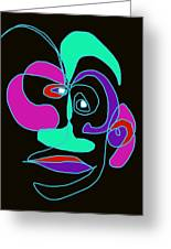 Face 7 On Black Greeting Card