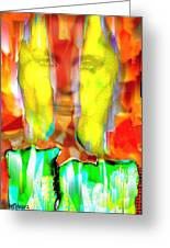 Face In The Flames Greeting Card