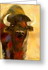 Face The American Bison Greeting Card