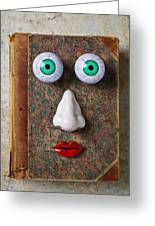 Facebook Old Book With Face Greeting Card by Garry Gay
