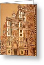 Faced Of Florence Cathedral  Greeting Card