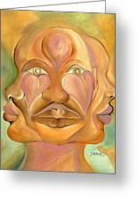Faces Of Copulation Greeting Card by Ikahl Beckford
