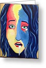 Facial Or Woman With Green Eyes Greeting Card