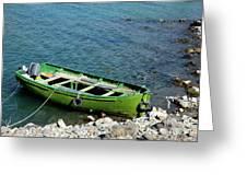 Faded Green Yellow Motor Power Boat Parked At Satpara Lake Pakistan Greeting Card