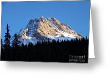 Fading Afternoon Sun Illuminates Mountain Peak  Greeting Card