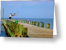 Fairhope Fisherman With Cast Net Greeting Card