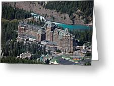 Fairmont Banff Springs Hotel With The Bow River Falls Banff Alberta Canada Greeting Card