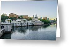 Fairmount Waterworks And Philadelphia Art Museum In The Morning Greeting Card