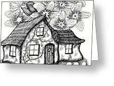 Fairy House, Bee, And Dogwood Greeting Card