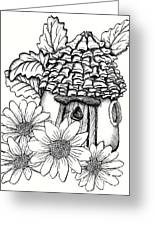 Fairy House With Pine Cone Roof And Daisies Greeting Card