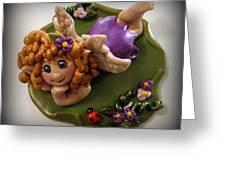 Fairy In Purple Greeting Card by Trina Prenzi