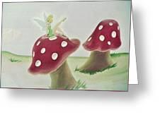Fairy On Mushroom Trees Greeting Card