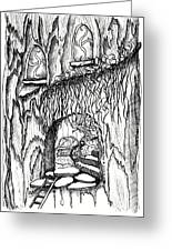 Fairy On Stairs Tree Fairy Home Greeting Card
