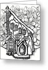 Fairy Stucco House With Flowers Greeting Card