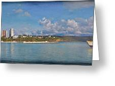 Fajardo Ferry Service To Culebra And Vieques Panorama Greeting Card