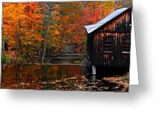 Fall Barn And River N Leverett Ma Greeting Card