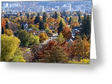 Fall Colors In Spokane From The Post Street Hill Greeting Card