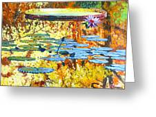 Fall Colors On The Lily Pond Greeting Card