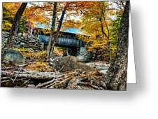 Fall Colors Over The Flume Gorge Covered Bridge Greeting Card