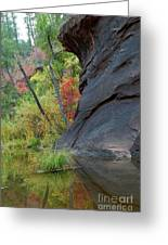 Fall Colors Peek Around Mountain Vertical Greeting Card