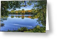 Fall Foliage At Turners Pond In Milton Massachusetts Greeting Card
