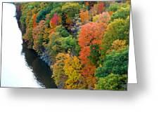 Fall Foliage In Hudson River 1 Greeting Card