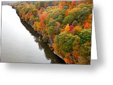 Fall Foliage In Hudson River 10 Greeting Card