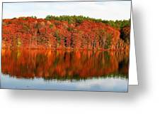 Fall Foliage Reflection Kennebec River Hallowell Greeting Card
