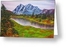 Fall In Mountains Landscape Oil Painting Greeting Card