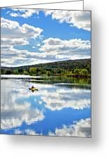 Fall Kayaking Reflection Landscape Greeting Card