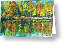 Fall Landscape Acrylic Painting Framed Greeting Card