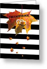 Fall Leaf Love Typography On Black And White Stripes Greeting Card