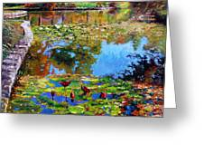 Fall Leaves On Lily Pond Greeting Card