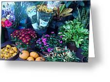 Fall Market Scene In Watercolor Greeting Card