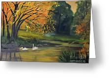 Fall Pond With Swans Greeting Card